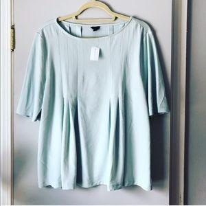 NWT light blue pleated short sleeve blouse